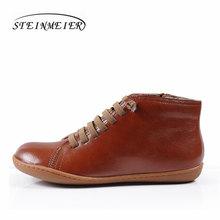 Phụ nữ khởi động mùa đông chính hãng da cừu da giày xuân phẳng khởi động bình thường botas mujer chân trần phụ nữ sneakers boots giày dép(China)
