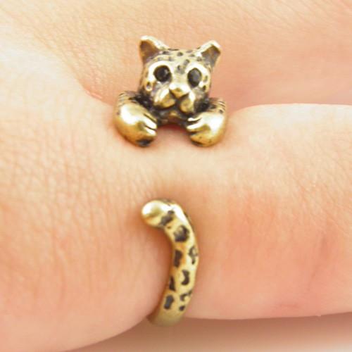Leopard Animal Wrap Ring - bronze