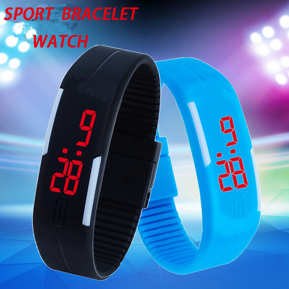Fashion Brand Sports LED Digital Watches NEW waterproof The keys Touch Digital Jelly Silicone Bracelet LED Sports Wrist Watch()