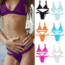 Women Fasion Sexy Mesh Bikini Set Hollow Out Tops Bandage Swimsuit Strappy font b Swimwear b