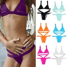 Women Fasion Sexy Mesh Bikini Set Hollow Out Tops Bandage Swimsuit Strappy Swimwear Sexy Mini String Thong 7 Colors