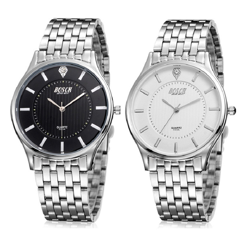 s quartz casual all stainless steel watches