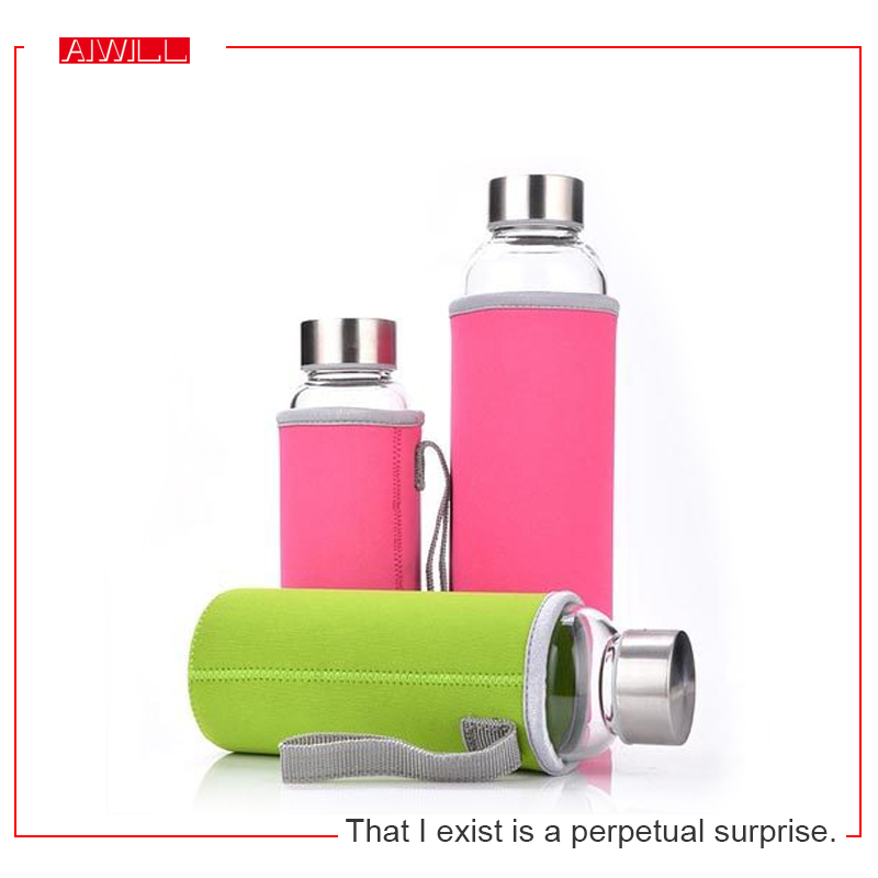 AIWILL Hot Selling Glass Sport Water Bottle With Protective Bag 280ml / 360ml / 550ml Fruit Outdoor Bike Bottles High Qualtiy(China (Mainland))