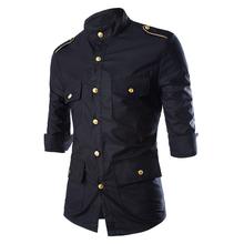 2015 recién llegado de Mens Casual Cotton Slim Fit camisas uniforme militar estilo de manga tres cuartos Camisa Camisa Masculina 13M0332(China (Mainland))