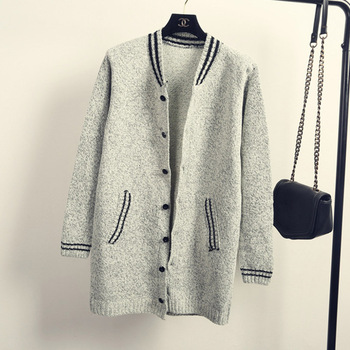 Корейский бейсбол одежда кардиганы женщины серый / черный одна пуговица шерсть вязаный свитер