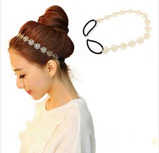 New hot sale Womens Fashion Metal Lady Hollow Rose Flower Elastic Hair HeadBand Headband Headwear Accessories Women Garland 073(China (Mainland))