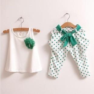 2016 новых детская летняя одежда устанавливают брюки 2 шт./компл. девочек сладкие ...