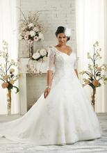 Buy Half Sleeves Plus Size Wedding Dresses 2017 A-line White Tulle Appliques Lace Bridal Gowns Maxi Dress Big Size Brides for $179.00 in AliExpress store