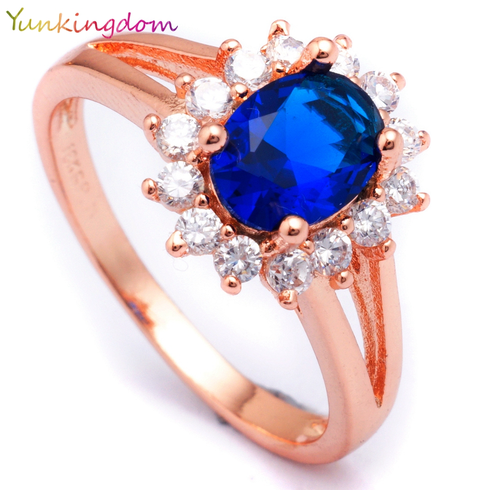 Yunkingdom Elegant Queen Style 18k Rose Gold Plated Ring Sapphire Cubic Zirconia Trendy Rings For Women CZ Diamond jewelry H2505(China (Mainland))