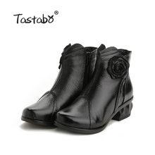 Tastabo Bayanlar siyah ayakkabı Kadın Kare Topuk Retro Çizmeler El Yapımı Çizmeler Kadın Moda Çiçek Yumuşak Hakiki deri ayakkabı Daireler(China)