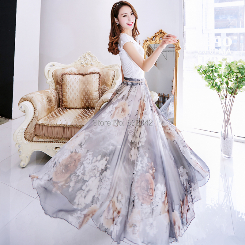 Bust skirt female 2015 spring and summer new arrival bohemia full dress summer chiffon half-length full dress expansion bottomОдежда и ак�е��уары<br><br><br>Aliexpress