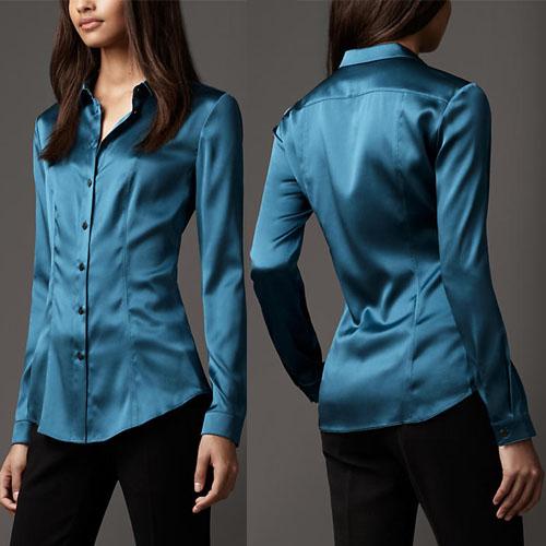 S Xxxl Women Fashion Silk Satin Blouse Button Ladies Silk