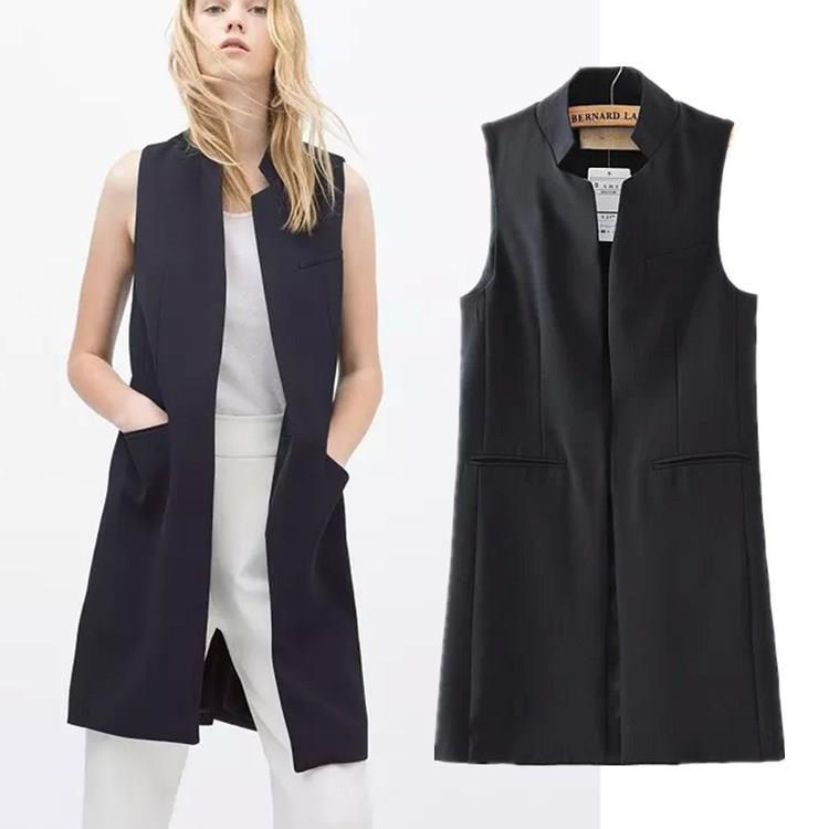 New stylish spring/summer 2015 women stand collar long suit vest black white dark blue with two pockets(China (Mainland))