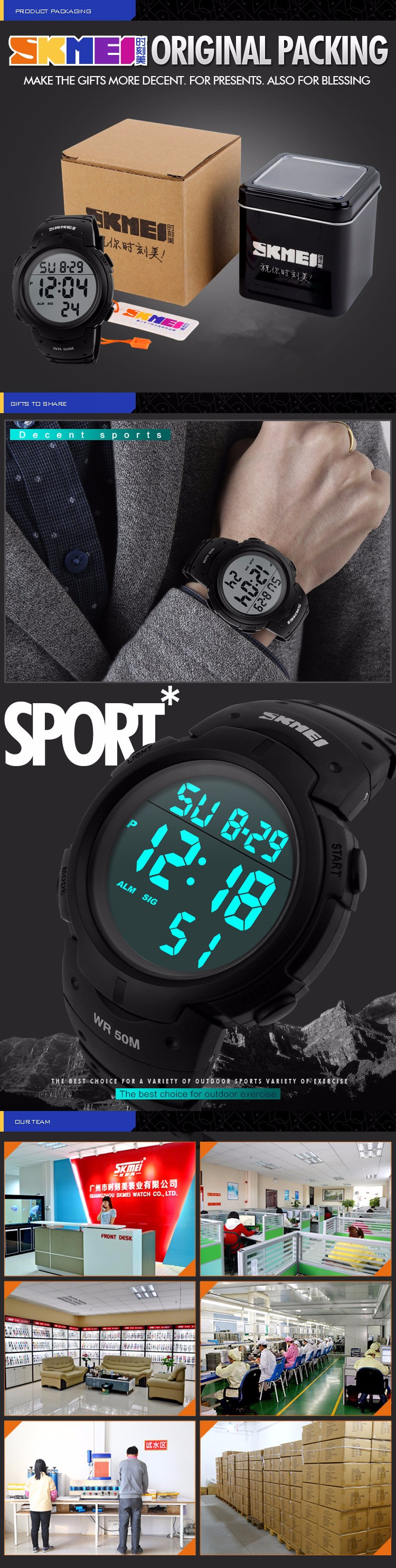 SKMEI 2016 New Luxury Brand Men Military Sports Watches 50M Waterproof LED Date Alarm Silicone Digital Watch For Men Clock