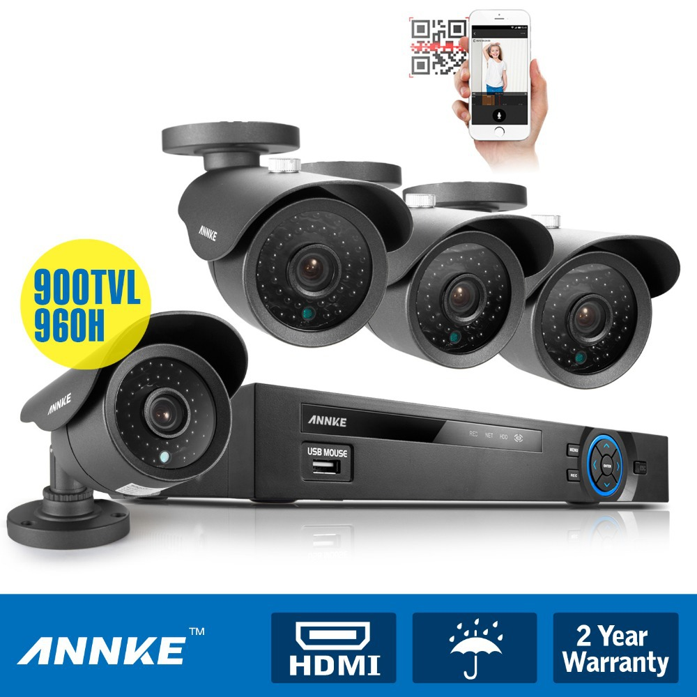 ANNKE 8CH CCTV System 960H DVR HDMI 4PCS 900TVL IR Weatherproof Outdoor CCTV Camera Home Security System Surveillance Kits(China (Mainland))