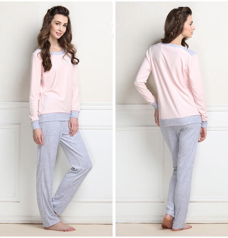Новый осень зима женщины розовый и серый пижамы с длинным рукавом пижамы-наборы милые женщины пижамы Большой размер многоцветный