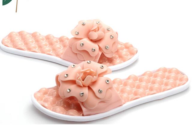 Массаж нижний женщины тапочки горный хрусталь цветочный лето женщины в обувь дамы ...