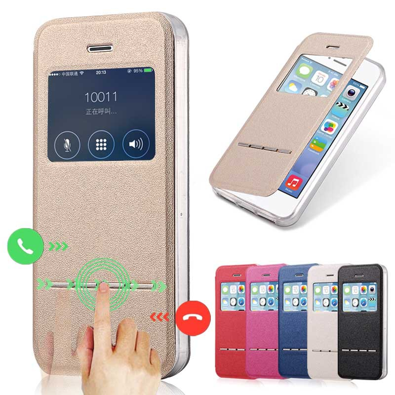Luxury Front View Window Leather Case For iPhone 5 Phone Accessories Fundas Capa For Apple iPhone 5s Flip Stand TPU Cover Coque(China (Mainland))