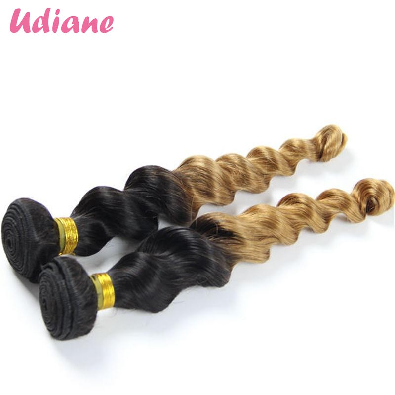 Brazilian Virgin Hair Loose Wave Ombre Hair Extensions 3PCS Blonde Ombre Hair Weft 10-26 Two Tone 1B 27 Human Hair Weave 3LC02