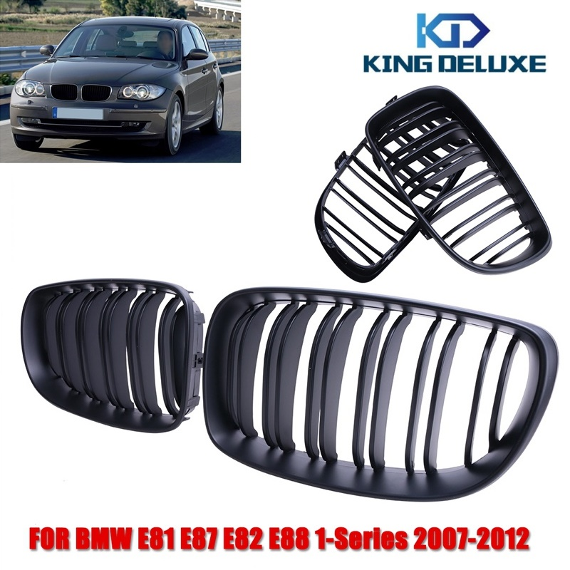 2016 1pair Matte Black Double Slat Kindly Grill Front Grilles For BMW 1Series E81 E87 E82 E88 with Box KING DELUXE P282<br><br>Aliexpress