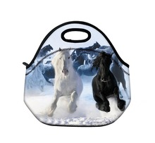 Horse Design Insulated Lunch Bag Cooler Box Neoprene Picnic Tote Bag Baby bag Carry Box w.Handle and zipper(China (Mainland))