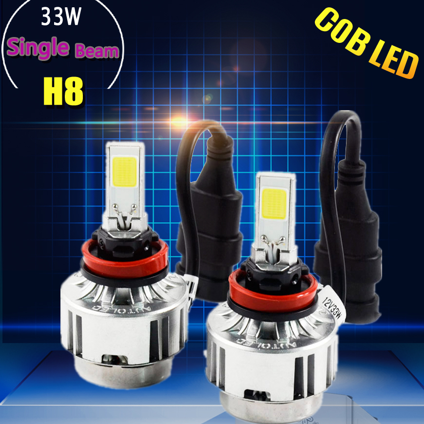 1Set H8 COB brightest Chips car LED Headlights 33W 3100LM replace conversion Kit 3000K,6000K fast delivery(China (Mainland))