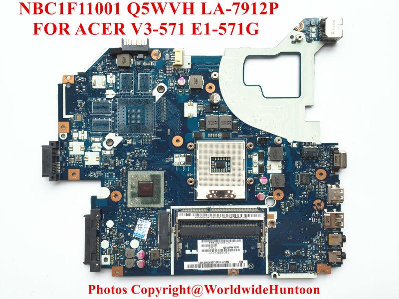 Original laptop motherboard for ACER Aspire V3-571G E1-571G NV56R Q5WVH LA-7912P NBC1F11001 HM70 PGA989 DDR3 Fully tested(China (Mainland))