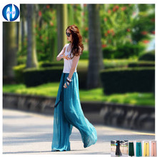 2016 GIFT chiffon pants XXXL  casual loose trousers  plus size pants  high waist  chiffon  wide leg pants(China (Mainland))