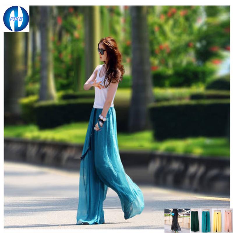 2016 de la gasa de REGALO pantalones XXXL flojos ocasionales más tamaño pantalones de cintura alta pantalones de pierna ancha de la gasa(China (Mainland))