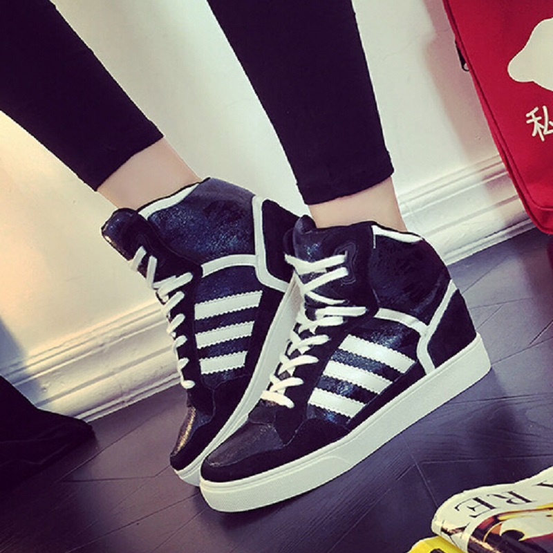 autumn sport Women flat 2015 high-top Platform genuine leather casual shoes black gray invisible elevator women's sneakers