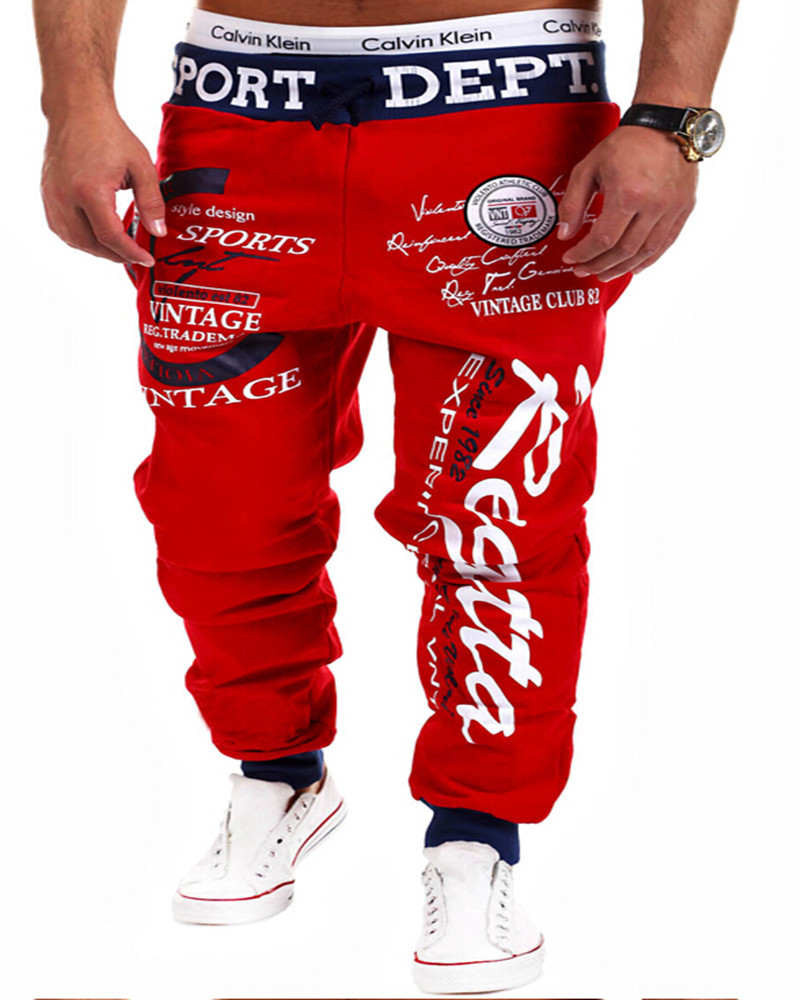 2015 Europe and the United States Men smoke rope elastic waist trousers of letters printing design, crime sweatpants(China (Mainland))