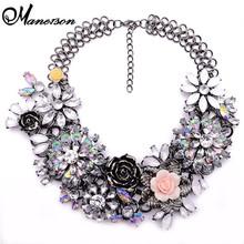 Invierno nueva moda de lujo cristalino claro de la flor za gran Party Brand joyería Shourouk declaración gargantilla cadena Necklace Collar B124