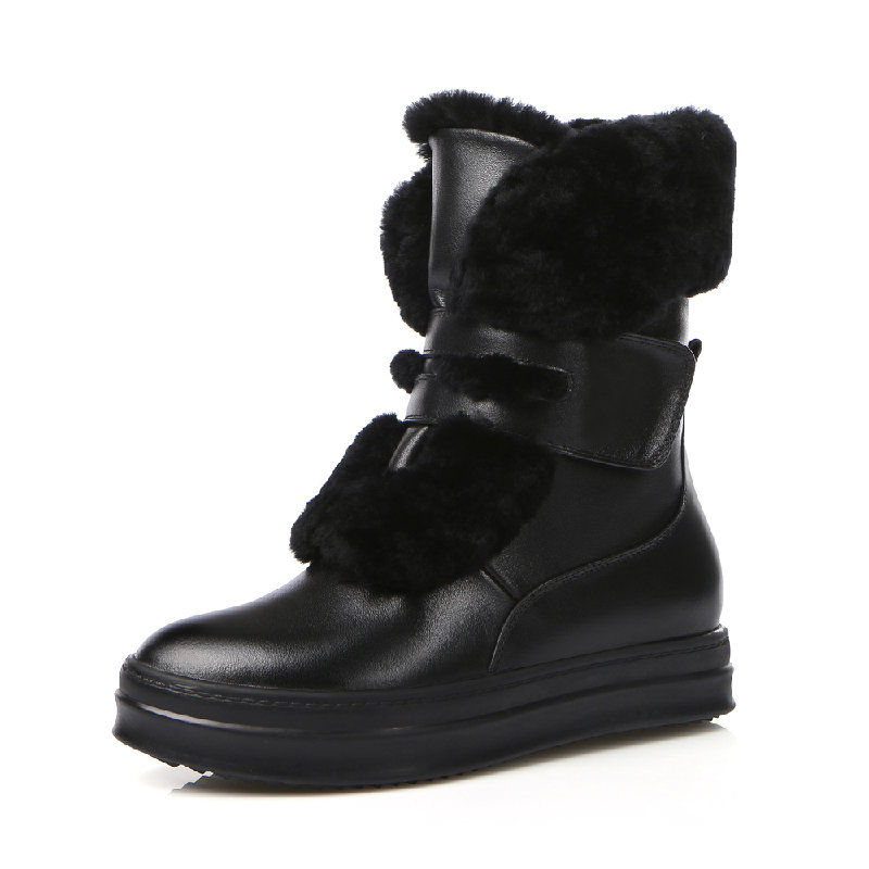 2015 winter new fashion women genuine full grain leather flat heeled med-calf boots shoes woman warm round toe short boot