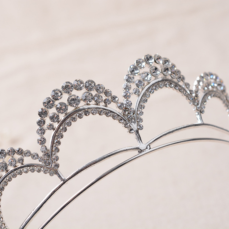 Top Clear Crystal Jewelry Silver Plated Bridal Tiara Crown Wedding Hair Accessories Gorgeous Bride Princess Rhinestone Headwear