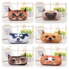 Free shipping 3D Plush Animal Cute Cartoon Kawaii Pencil Pencil Bag Kids School Supplies Material Stationery Case Plush(China (Mainland))