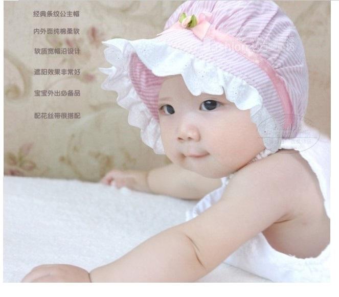 20pcs/lot Newborn Baby Kids Summer Flower Striped Hat Outdoor Visor Sunhat Soft Cotton Caps Infant FabricsTopee(China (Mainland))