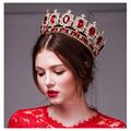 big European royal crown golden rhinestone imitation ruby tiara super large quinceanera crown wedding hair accessories