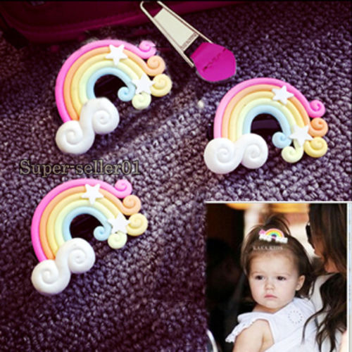 1 Pcs Cute Women Girls Kids Baby Fashion Colorful Beauty Duckbill Asymmetric Rainbow Hairpin Decorated Hair accessories Sales(China (Mainland))