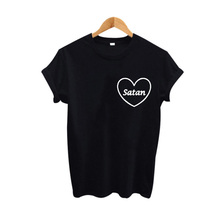 Buy Satan Ringer Harajuku Graphic T shirt Women Tops Tumblr Hipster Female t-shirt Black White Summer 2017 Fashion Women Tees for $7.89 in AliExpress store