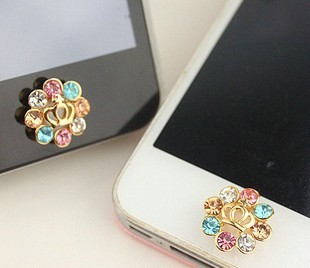 Free Shipping - wholesale Button stickers The   plug mobile phone keys attached diamond love real gold plating color retention