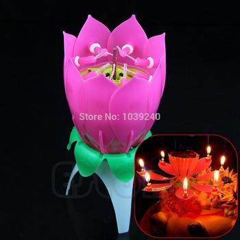 E74 бесплатная доставка новый романтический музыкальные цветок лотоса с днем рождения ну вечеринку подарок свечах