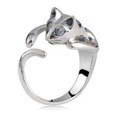 Sweet Jewelry Womens Cool Silver Plated Kitten Cute Cat Ring With Crystal Eyes AMR004(China (Mainland))