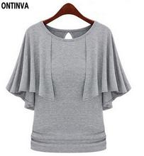 Ruffle Womens Tops Black Basic Tee Shirt Women  5XL 4XL Plus Size Women Clothing Blusas Femininas T Shirt Tshirts Cotton(China (Mainland))