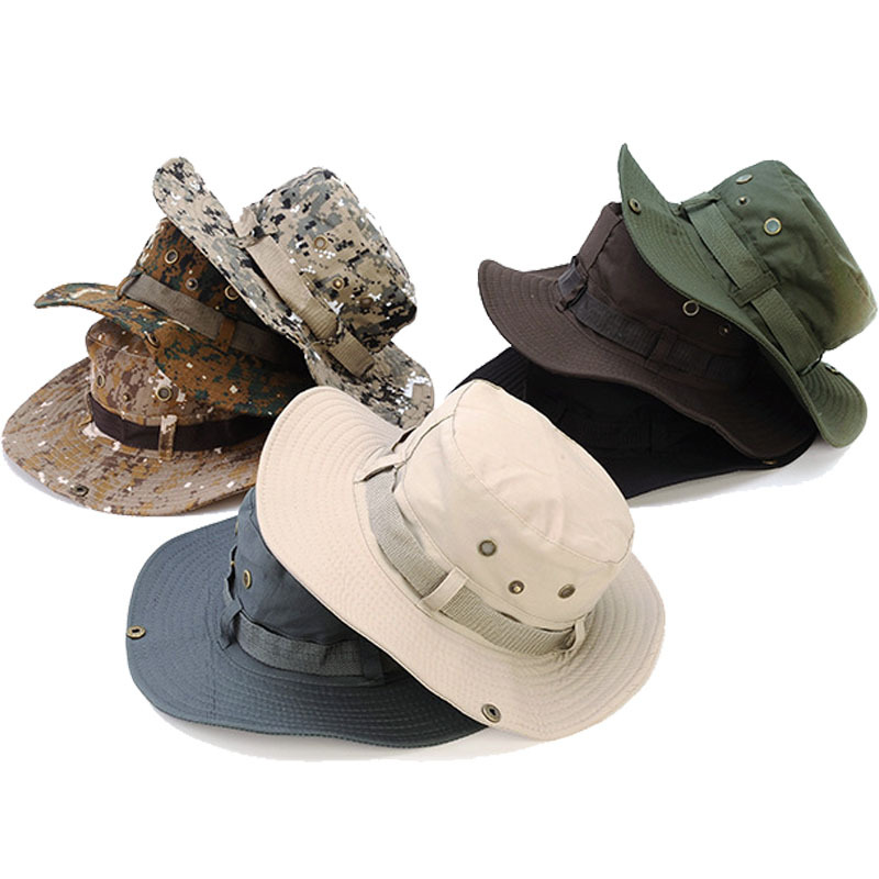 Cotton Military Camouflage Bucket Hats Camo Fisherman Hats With Wide Brim Sun Fishing Bucket Hat Campin
