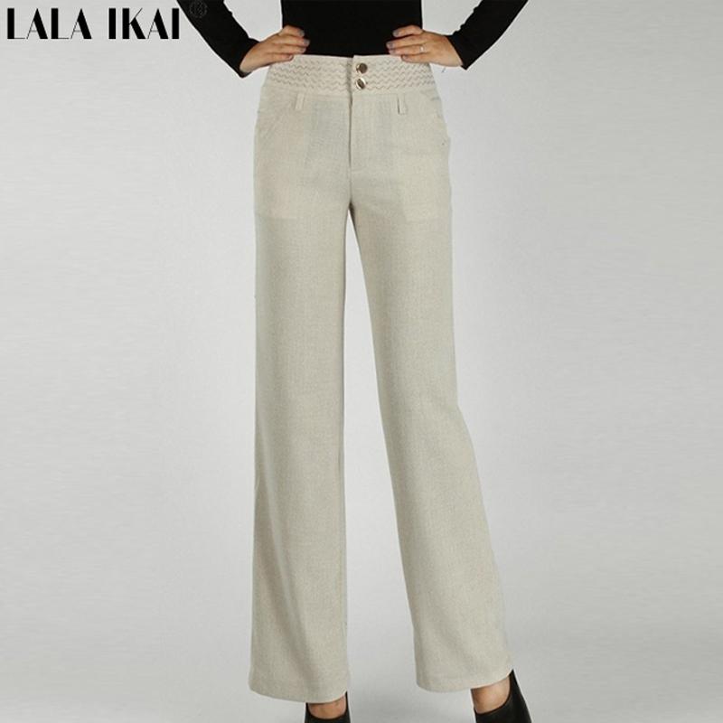 Women Black Loose Pants Casual Wide Leg Pants Linen High Waist OL Trousers Plus Size KWM0009(China (Mainland))