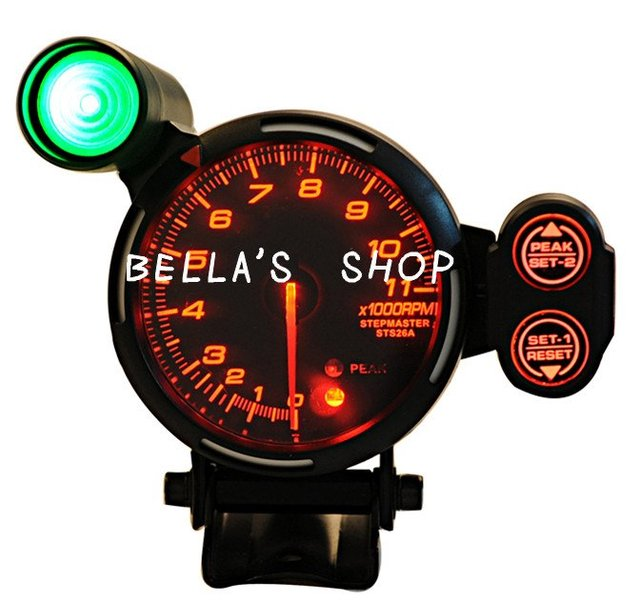 DEF ll  3.75 INCH  RPM RED LED SMOKE LENS  0-11000 TACHOMETER REV COUNTER  AUTO RACING METER