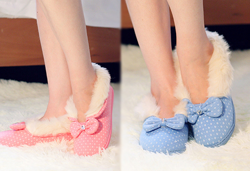 Winter fashion shallow mouth bow plush and comfortable all-inclusive female cotton-padded shoes indoor and outdoor non-slip wate<br><br>Aliexpress