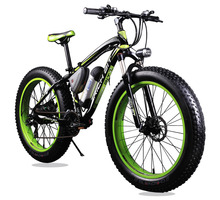 Green Electric Fat Wheel Mountain Bike – 36V 350 Watt Lithium Battery 24 Speed