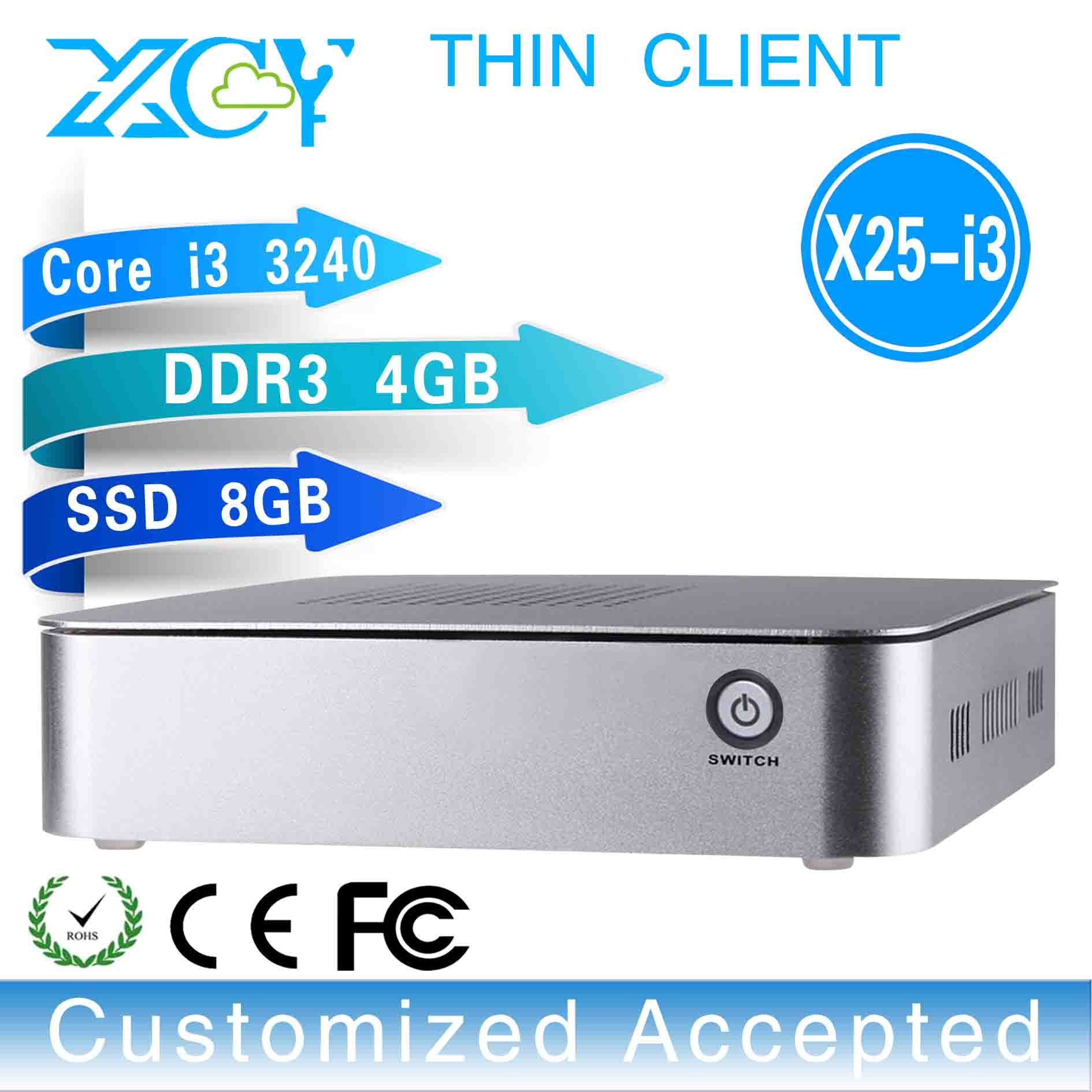 Wholesale!!X25-I3,embedded pc desktop computer i3 thin client(core i3 3210 3.2GHz 4RAM 8GB SSD 4*USB2.0,1*HDMI 1.3,1*VGA)(China (Mainland))