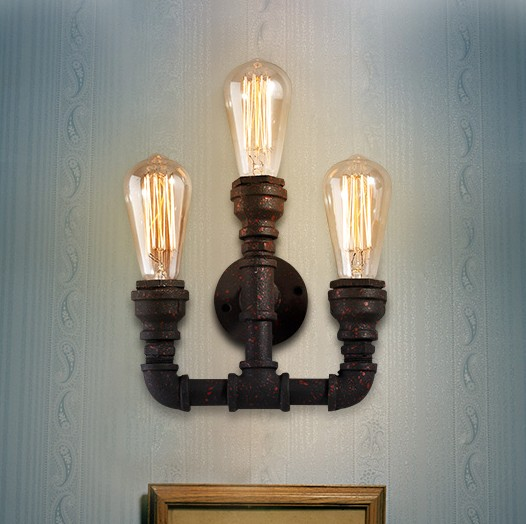 Buy iron plumbing pipe edison light vintage wall lamp for Style house professional styling iron price